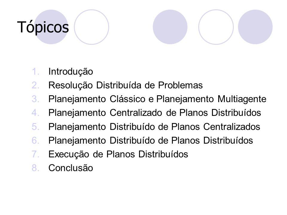 Tópicos 1.Introdução 2.Resolução Distribuída de Problemas 3.Planejamento Clássico e Planejamento Multiagente 4.Planejamento Centralizado de Planos Dis