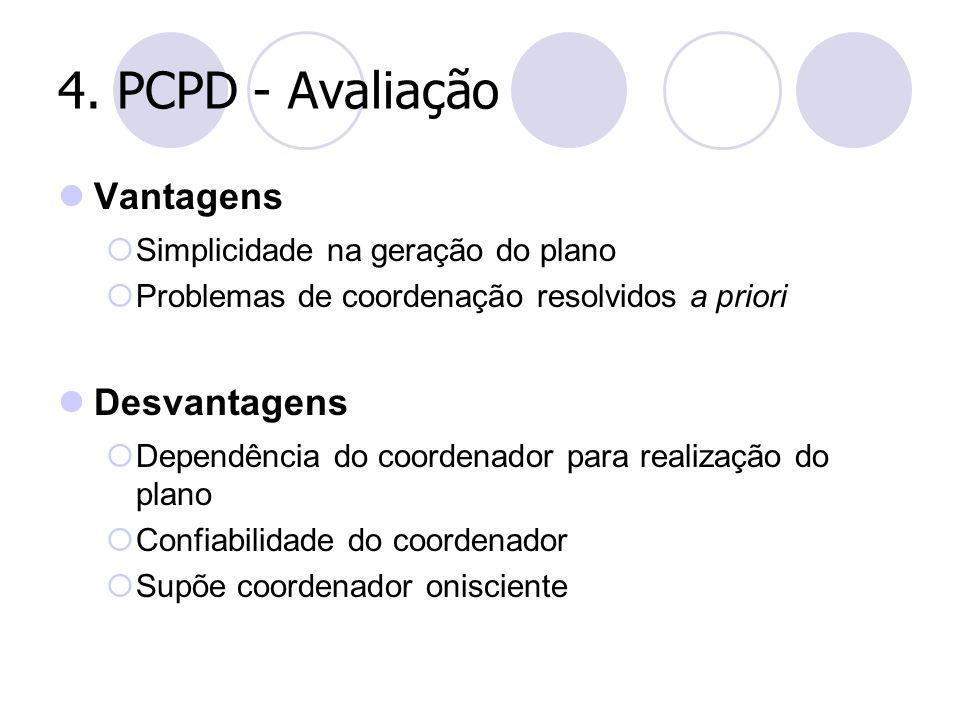 4. PCPD - Avaliação Vantagens  Simplicidade na geração do plano  Problemas de coordenação resolvidos a priori Desvantagens  Dependência do coordena