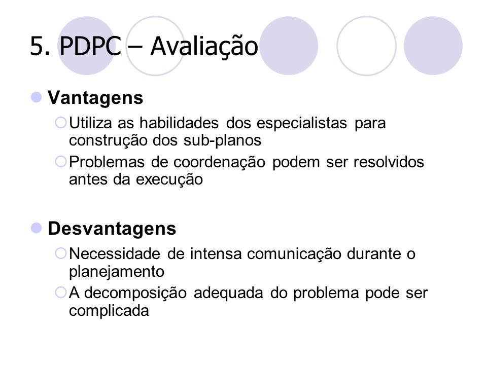 5. PDPC – Avaliação Vantagens  Utiliza as habilidades dos especialistas para construção dos sub-planos  Problemas de coordenação podem ser resolvido