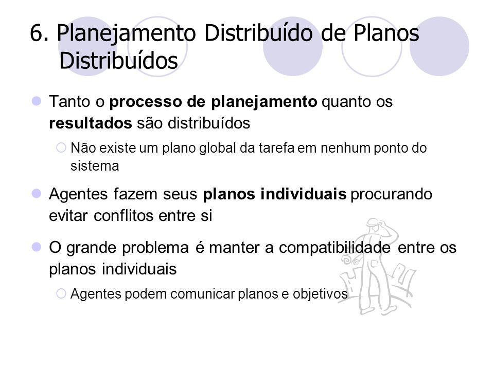6. Planejamento Distribuído de Planos Distribuídos Tanto o processo de planejamento quanto os resultados são distribuídos  Não existe um plano global