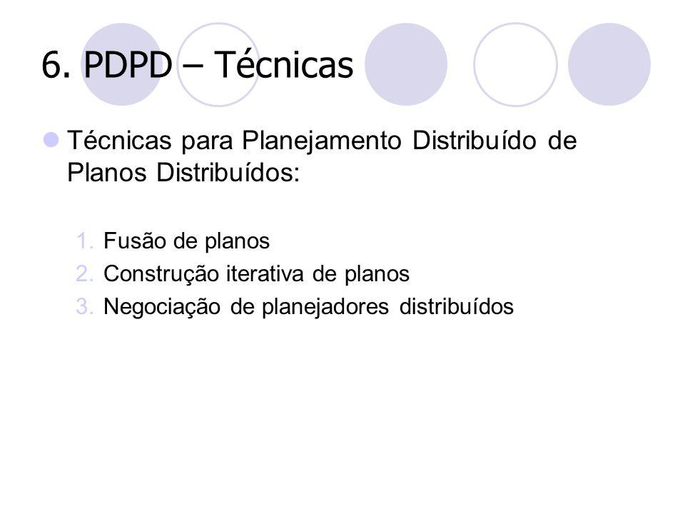6. PDPD – Técnicas Técnicas para Planejamento Distribuído de Planos Distribuídos: 1. Fusão de planos 2. Construção iterativa de planos 3. Negociação d