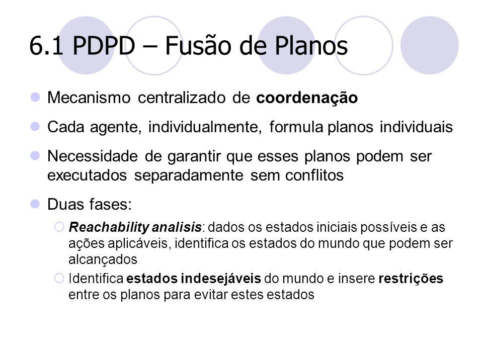 6.1 PDPD – Fusão de Planos Mecanismo centralizado de coordenação Cada agente, individualmente, formula planos individuais Necessidade de garantir que