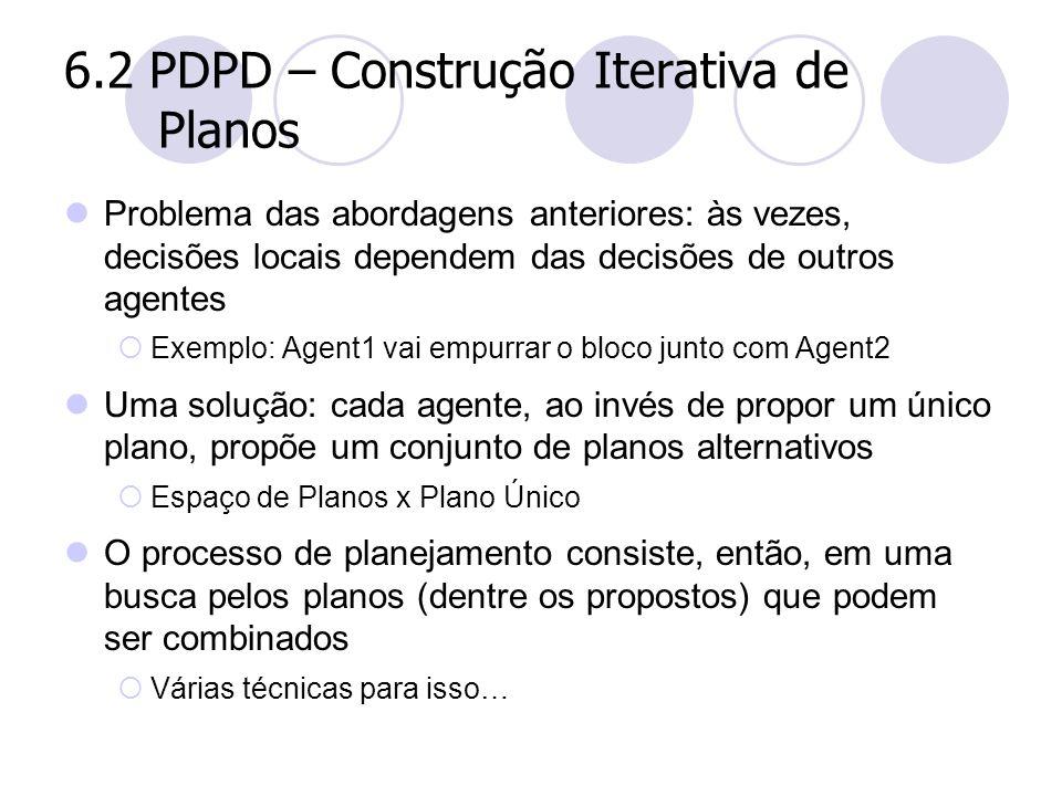 6.2 PDPD – Construção Iterativa de Planos Problema das abordagens anteriores: às vezes, decisões locais dependem das decisões de outros agentes  Exem