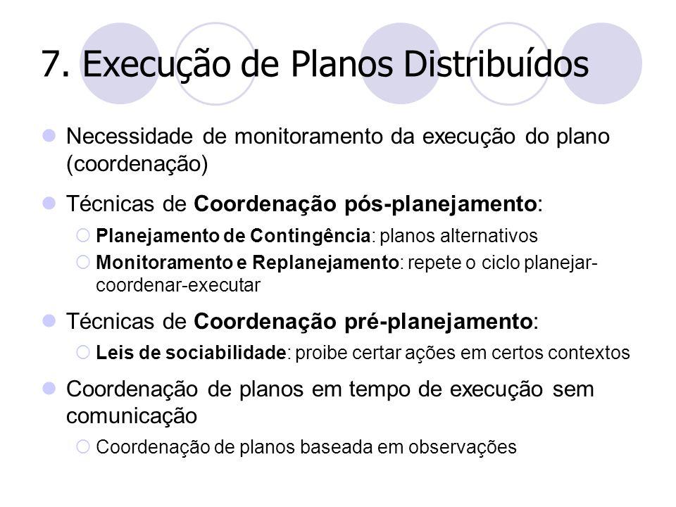 7. Execução de Planos Distribuídos Necessidade de monitoramento da execução do plano (coordenação) Técnicas de Coordenação pós-planejamento:  Planeja