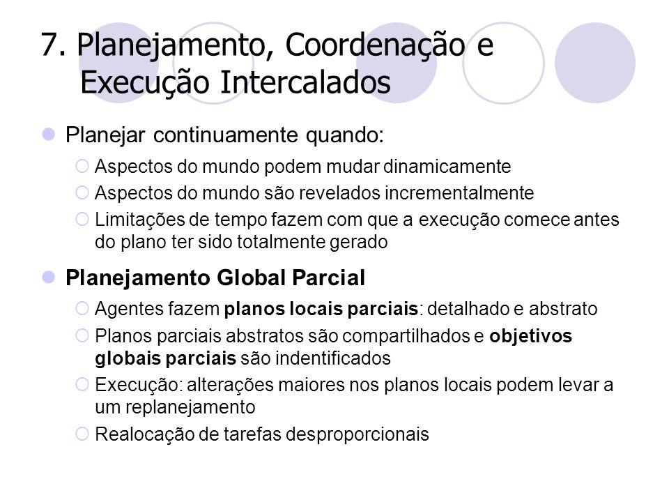 7. Planejamento, Coordenação e Execução Intercalados Planejar continuamente quando:  Aspectos do mundo podem mudar dinamicamente  Aspectos do mundo