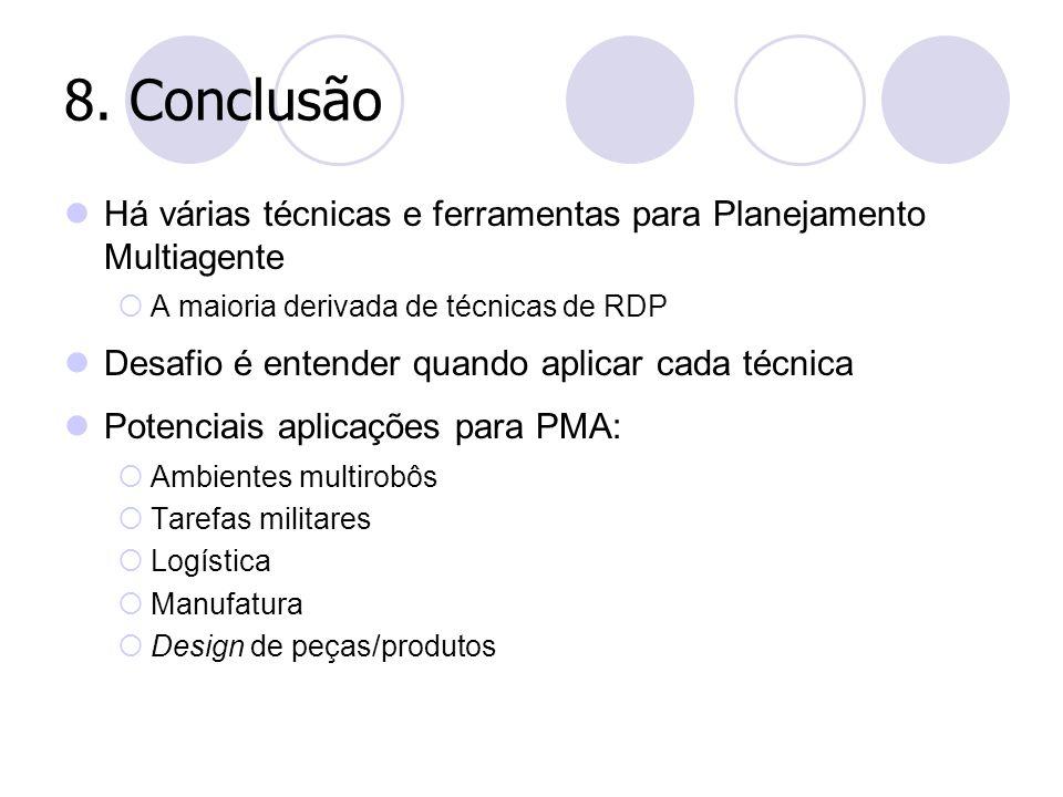 8. Conclusão Há várias técnicas e ferramentas para Planejamento Multiagente  A maioria derivada de técnicas de RDP Desafio é entender quando aplicar