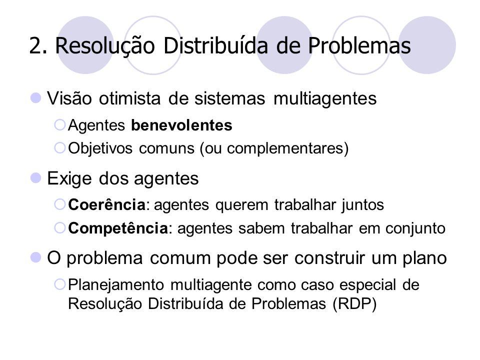 2. Resolução Distribuída de Problemas Visão otimista de sistemas multiagentes  Agentes benevolentes  Objetivos comuns (ou complementares) Exige dos