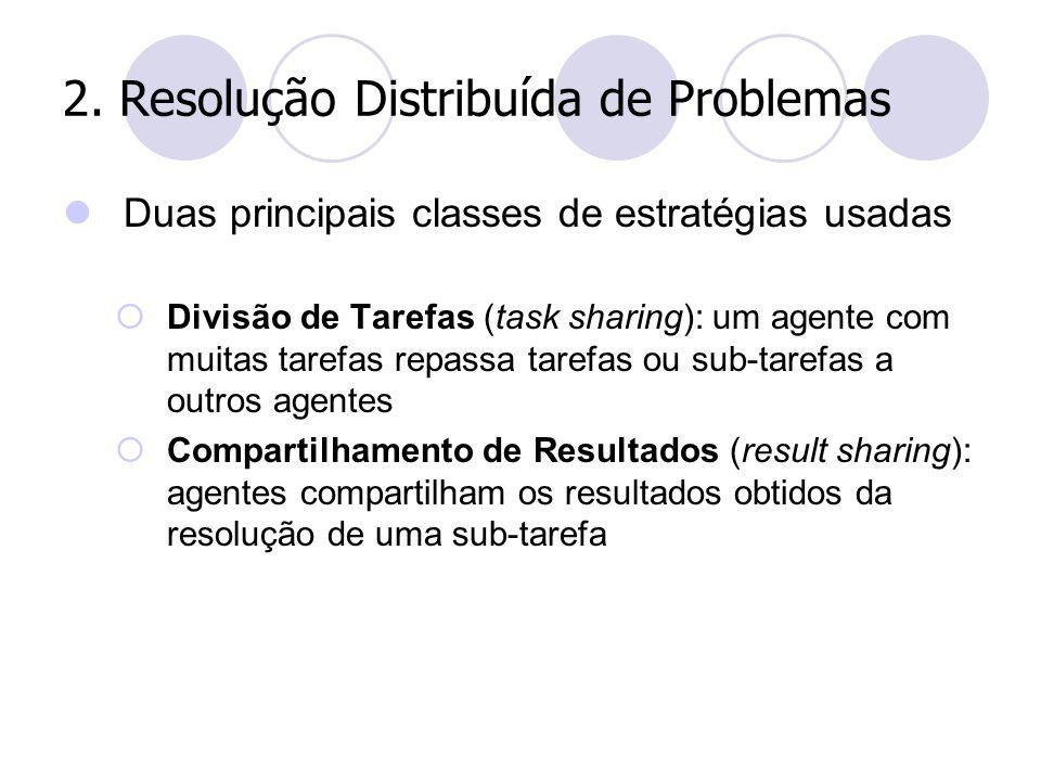 2. Resolução Distribuída de Problemas Duas principais classes de estratégias usadas  Divisão de Tarefas (task sharing): um agente com muitas tarefas