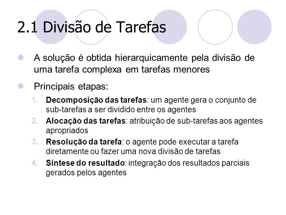 2.1 Divisão de Tarefas A solução é obtida hierarquicamente pela divisão de uma tarefa complexa em tarefas menores Principais etapas: 1.Decomposição da