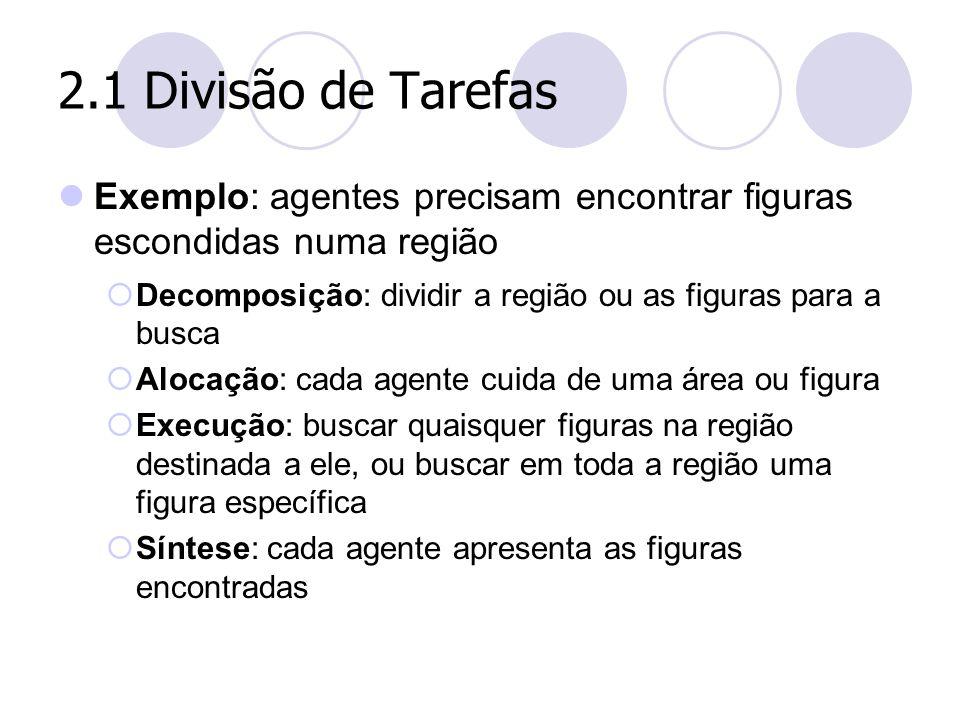 2.1 Divisão de Tarefas Exemplo: agentes precisam encontrar figuras escondidas numa região  Decomposição: dividir a região ou as figuras para a busca