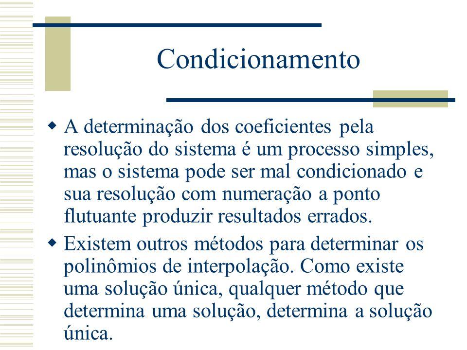 Condicionamento  A determinação dos coeficientes pela resolução do sistema é um processo simples, mas o sistema pode ser mal condicionado e sua resol