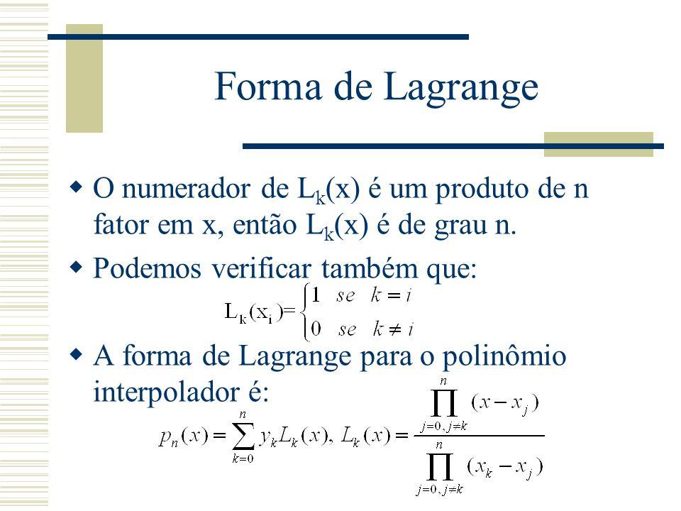 Forma de Lagrange  O numerador de L k (x) é um produto de n fator em x, então L k (x) é de grau n.  Podemos verificar também que:  A forma de Lagra