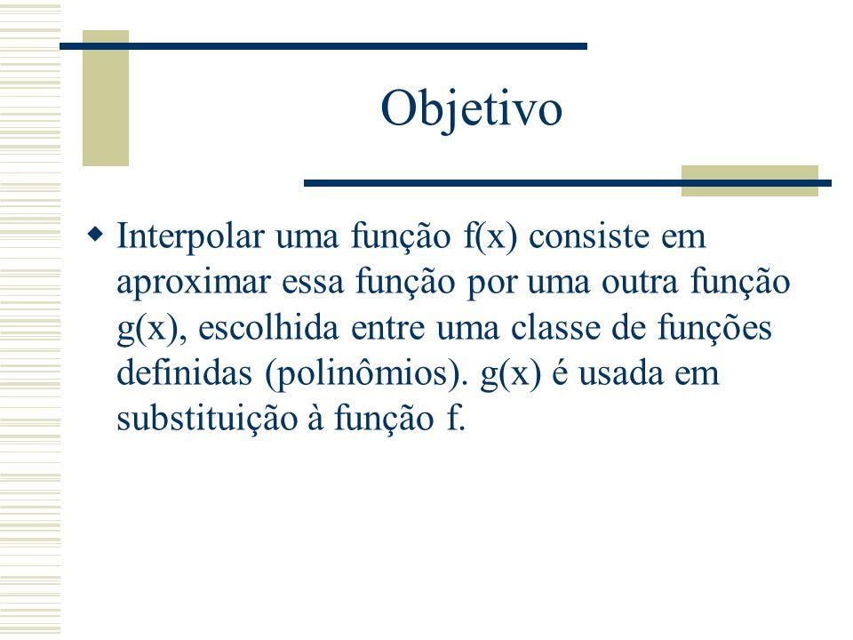 Operador diferenças divididas xOrdem 0Ordem 1Ordem 2...Ordem n x0x0 f[x 0 ] f[x 0, x 1 ] x1x1 f[x 1 ]f[x 0, x 1, x 2 ] f[x 1, x 2 ] x2x2 f[x 2 ]f[x 1, x 2, x 3 ] f[x 0,..., x n ] f[x n-2, x n-1, x n ]....f[x n-1, x n ] xnxn f[x n ]