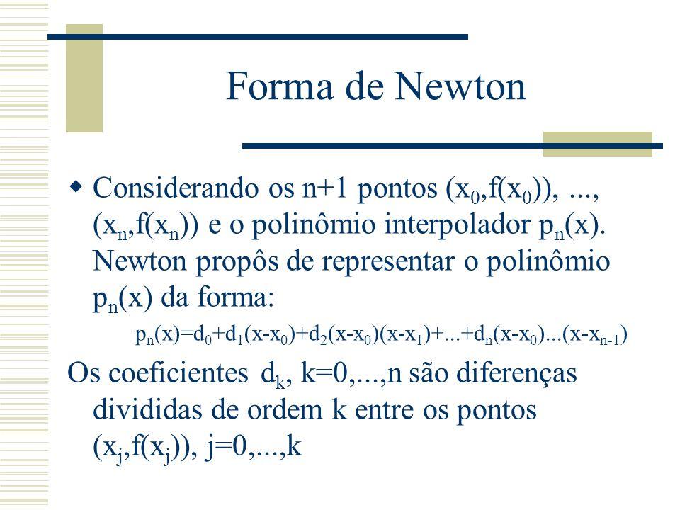 Forma de Newton  Considerando os n+1 pontos (x 0,f(x 0 )),..., (x n,f(x n )) e o polinômio interpolador p n (x). Newton propôs de representar o polin