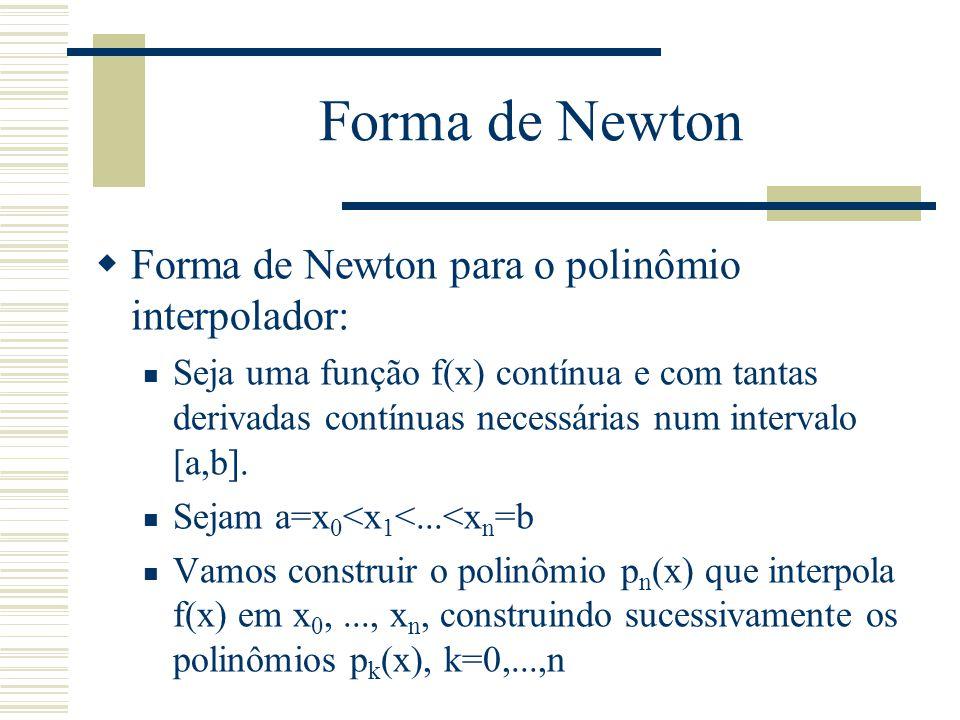Forma de Newton  Forma de Newton para o polinômio interpolador: Seja uma função f(x) contínua e com tantas derivadas contínuas necessárias num interv
