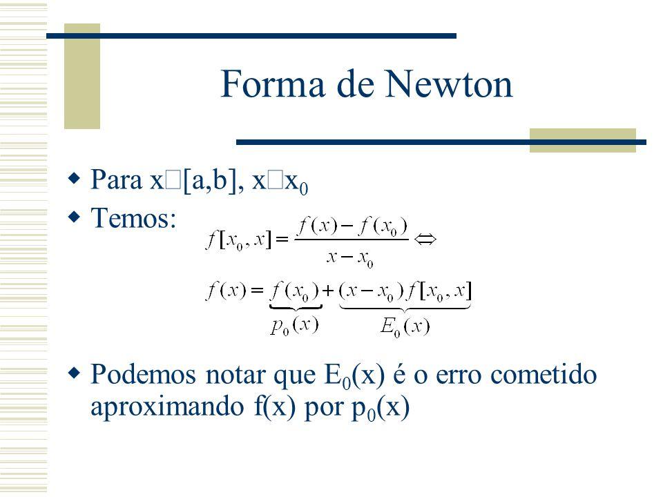 Forma de Newton  Para x  [a,b], x  x 0  Temos:  Podemos notar que E 0 (x) é o erro cometido aproximando f(x) por p 0 (x)