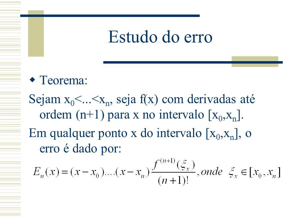Estudo do erro  Teorema: Sejam x 0 <...<x n, seja f(x) com derivadas até ordem (n+1) para x no intervalo [x 0,x n ]. Em qualquer ponto x do intervalo
