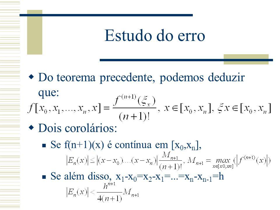 Estudo do erro  Do teorema precedente, podemos deduzir que:  Dois corolários: Se f(n+1)(x) é contínua em [x 0,x n ], Se além disso, x 1 -x 0 =x 2 -x