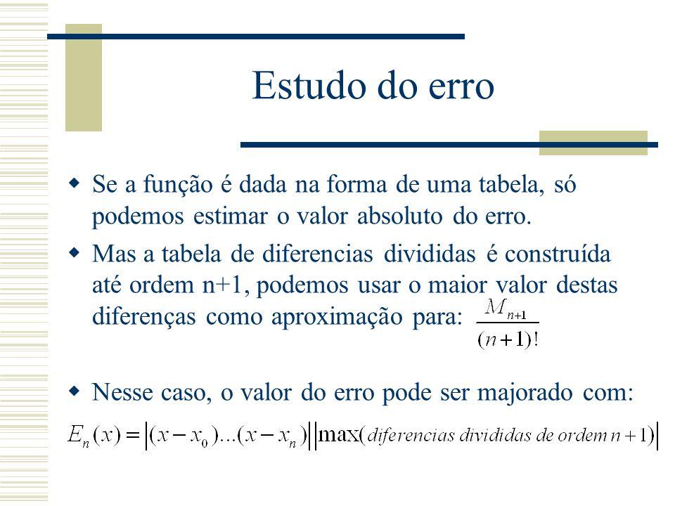 Estudo do erro  Se a função é dada na forma de uma tabela, só podemos estimar o valor absoluto do erro.  Mas a tabela de diferencias divididas é con