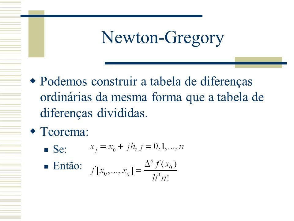 Newton-Gregory  Podemos construir a tabela de diferenças ordinárias da mesma forma que a tabela de diferenças divididas.  Teorema: Se: Então: