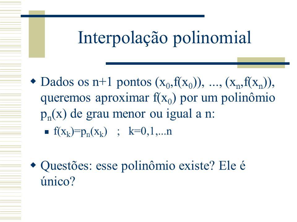 Interpolação polinomial  Considerando que p o polinômio escreve-se p n (x)= a 0 +a 1 x+...+a n x n, a condição f(x k )=p n (x k ) ; k=0,1,...,n produz o sistema seguinte de n+1 equações, n+1 variáveis: