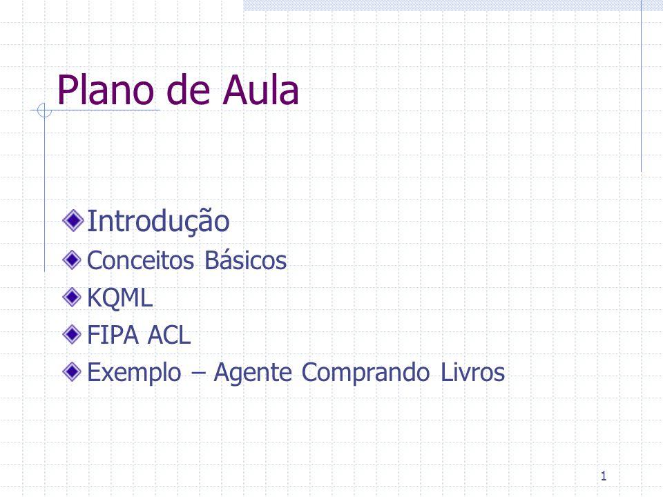 1 Plano de Aula Introdução Conceitos Básicos KQML FIPA ACL Exemplo – Agente Comprando Livros