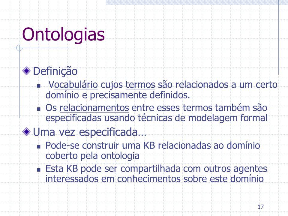 17 Ontologias Definição Vocabulário cujos termos são relacionados a um certo domínio e precisamente definidos.