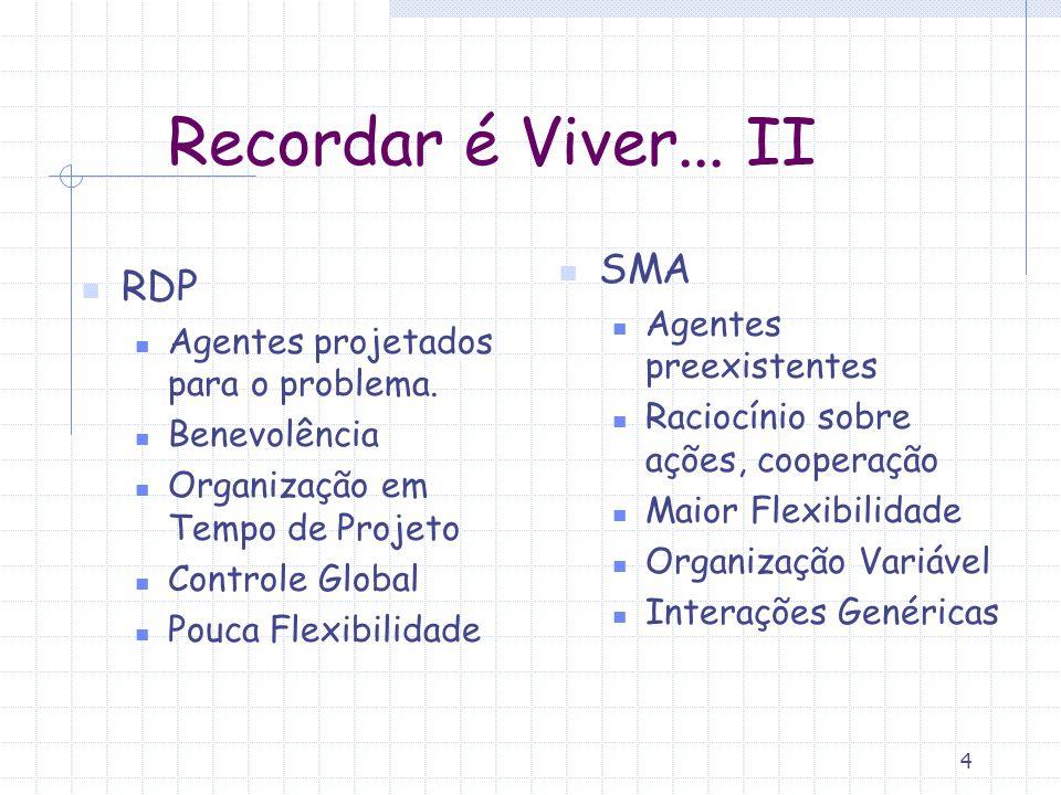 4 Recordar é Viver...II RDP Agentes projetados para o problema.