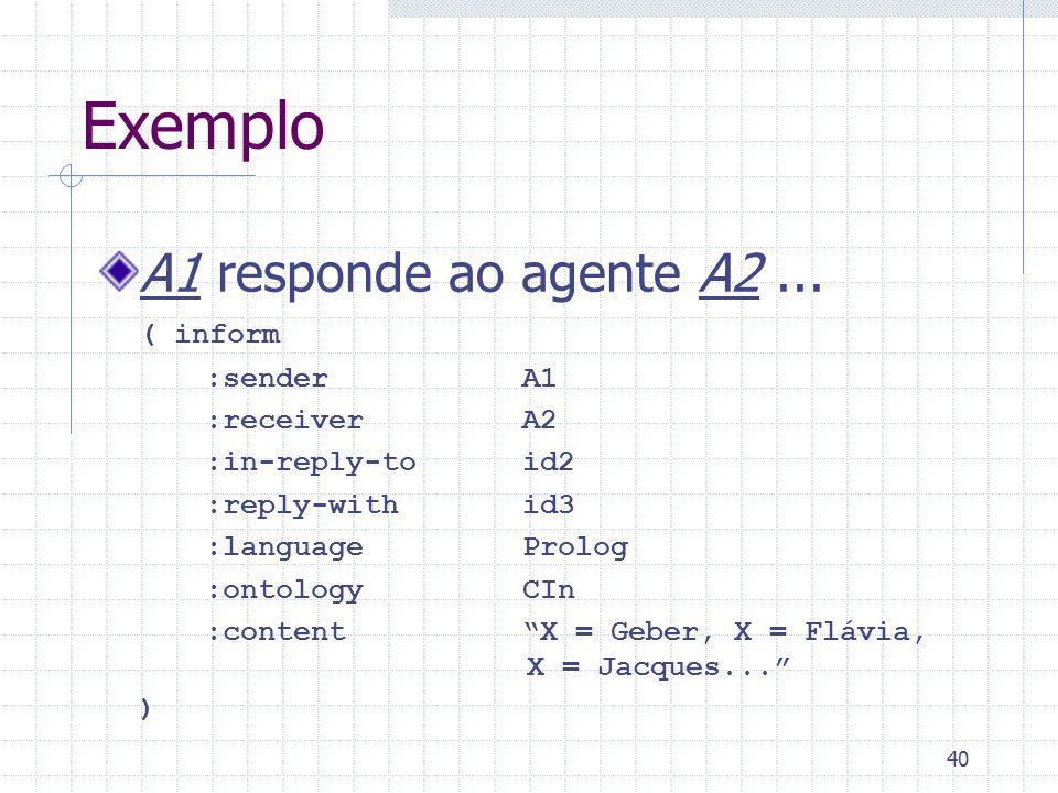 40 Exemplo A1 responde ao agente A2...