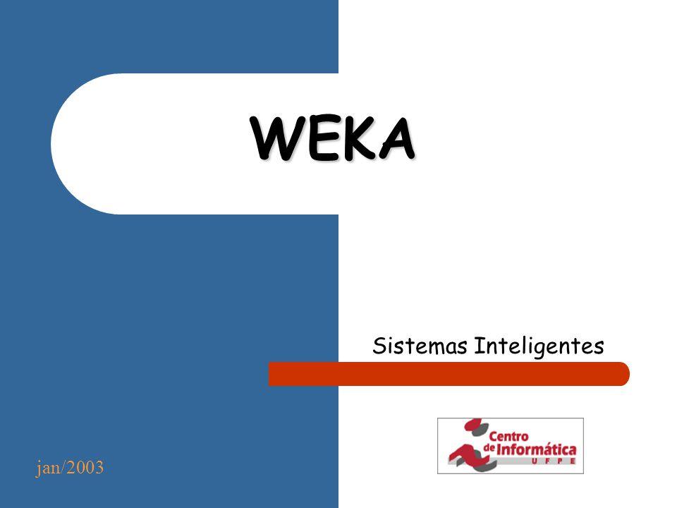 Roteiro * Introdução * Instalando e executando o Weka * Construção de classificadores Algoritmos de aprendizagem suportados Formato dos dados Avaliação dos classificadores * Estudo de Caso * Considerações finais