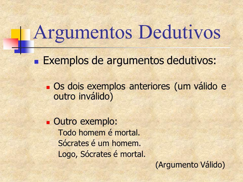 Argumentos Dedutivos Exemplos de argumentos dedutivos: Os dois exemplos anteriores (um válido e outro inválido) Outro exemplo: Todo homem é mortal. Só