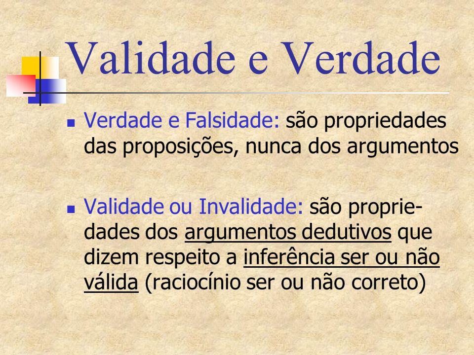 Validade e Verdade Verdade e Falsidade: são propriedades das proposições, nunca dos argumentos Validade ou Invalidade: são proprie- dades dos argument