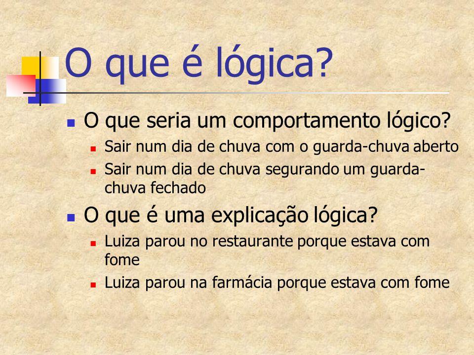 O que é lógica? O que seria um comportamento lógico? Sair num dia de chuva com o guarda-chuva aberto Sair num dia de chuva segurando um guarda- chuva