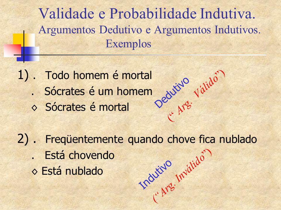 Validade e Probabilidade Indutiva. Argumentos Dedutivo e Argumentos Indutivos. Exemplos 1).Todo homem é mortal. Sócrates é um homem ◊ Sócrates é morta