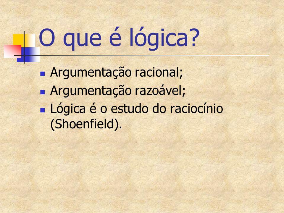 O que é lógica? Argumentação racional; Argumentação razoável; Lógica é o estudo do raciocínio (Shoenfield).