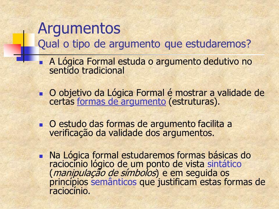 Argumentos Qual o tipo de argumento que estudaremos? A Lógica Formal estuda o argumento dedutivo no sentido tradicional O objetivo da Lógica Formal é