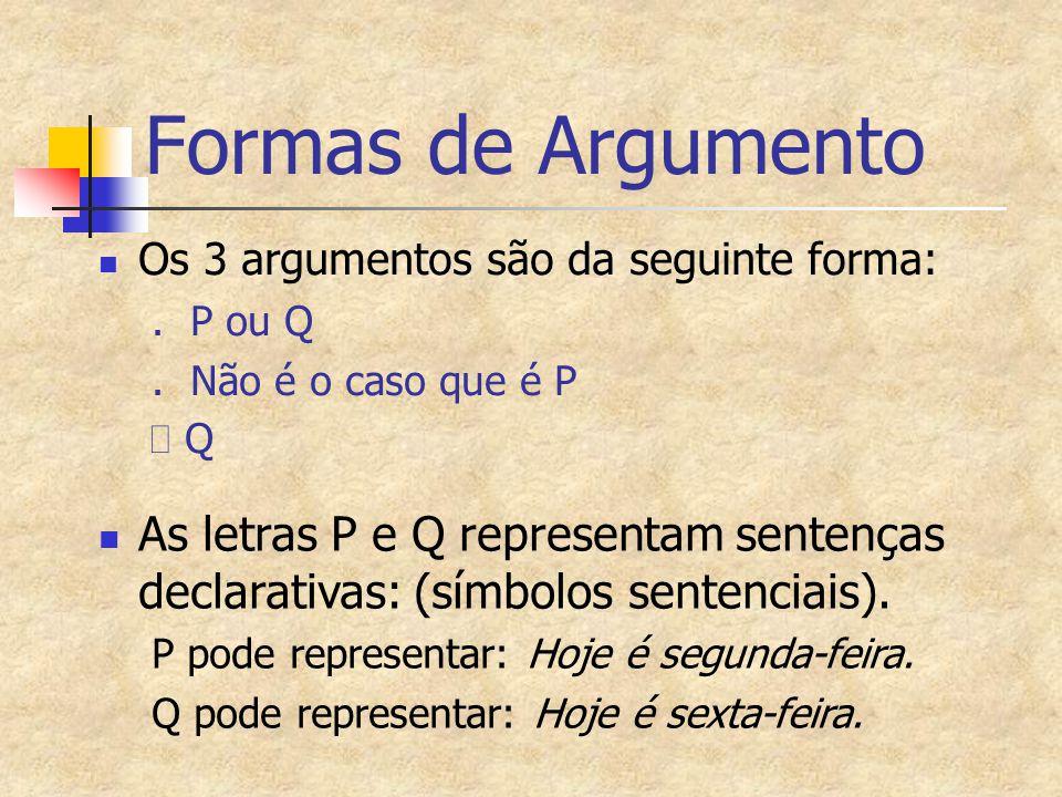 Formas de Argumento Os 3 argumentos são da seguinte forma:. P ou Q. Não é o caso que é P  Q As letras P e Q representam sentenças declarativas: (símb
