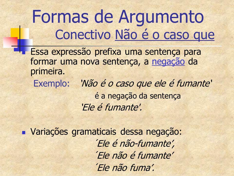 Formas de Argumento Conectivo Não é o caso que Essa expressão prefixa uma sentença para formar uma nova sentença, a negação da primeira. Exemplo: 'Não