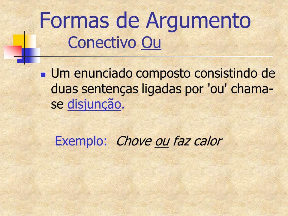 Formas de Argumento Conectivo Ou Um enunciado composto consistindo de duas sentenças ligadas por 'ou' chama- se disjunção. Exemplo: Chove ou faz calor