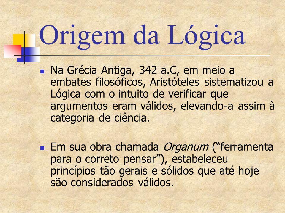Origem da Lógica Na Grécia Antiga, 342 a.C, em meio a embates filosóficos, Aristóteles sistematizou a Lógica com o intuito de verificar que argumentos