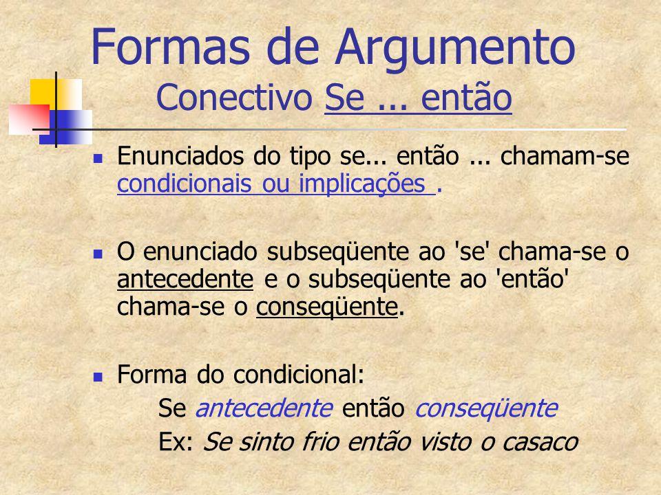 Formas de Argumento Conectivo Se... então Enunciados do tipo se... então... chamam-se condicionais ou implicações. O enunciado subseqüente ao 'se' cha