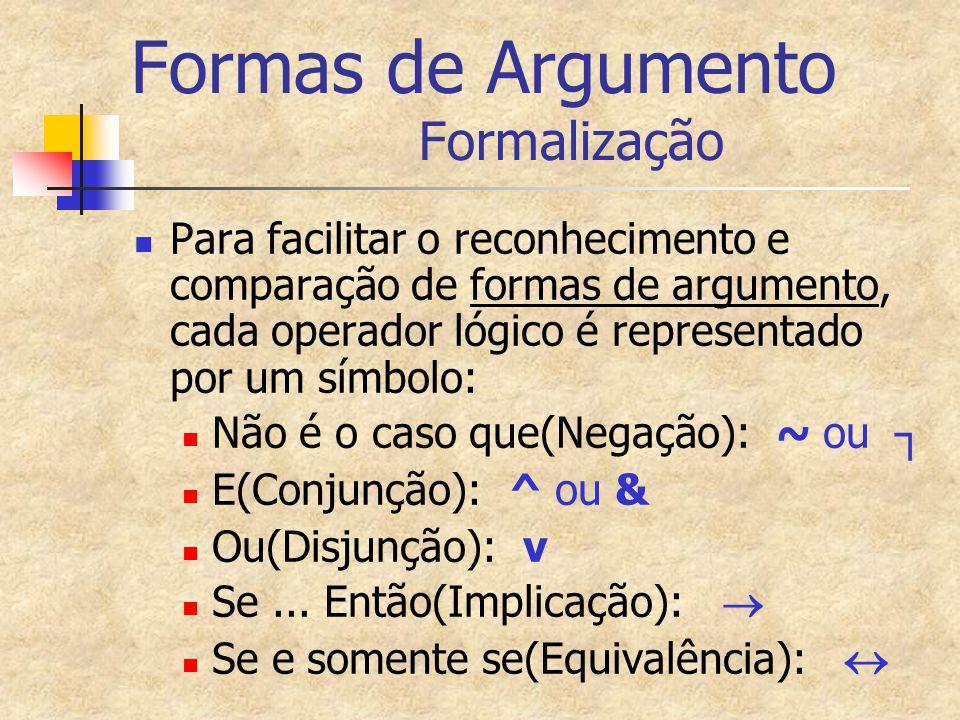 Formas de Argumento Formalização Para facilitar o reconhecimento e comparação de formas de argumento, cada operador lógico é representado por um símbo