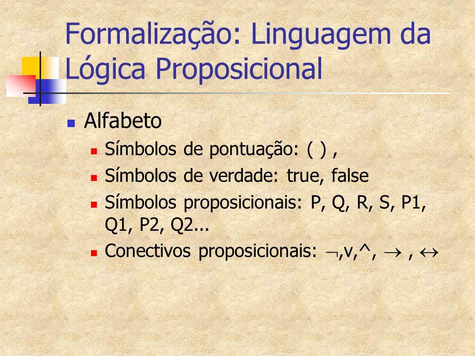 Formalização: Linguagem da Lógica Proposicional Alfabeto Símbolos de pontuação: ( ), Símbolos de verdade: true, false Símbolos proposicionais: P, Q, R