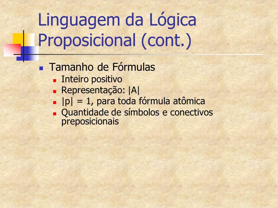 Linguagem da Lógica Proposicional (cont.) Tamanho de Fórmulas Inteiro positivo Representação: |A| |p| = 1, para toda fórmula atômica Quantidade de sím