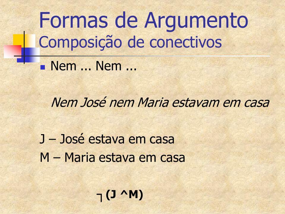 Formas de Argumento Composição de conectivos Nem... Nem... Nem José nem Maria estavam em casa J – José estava em casa M – Maria estava em casa ┐ (J ^M