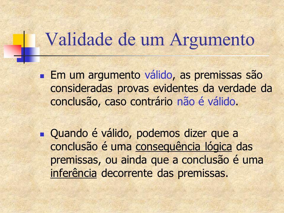 Validade de um Argumento Inferência é a relação que permite passar das premissas para a conclusão (um encadeamento lógico ) A palavra inferência vem do latim, Inferre, e significa conduzir para