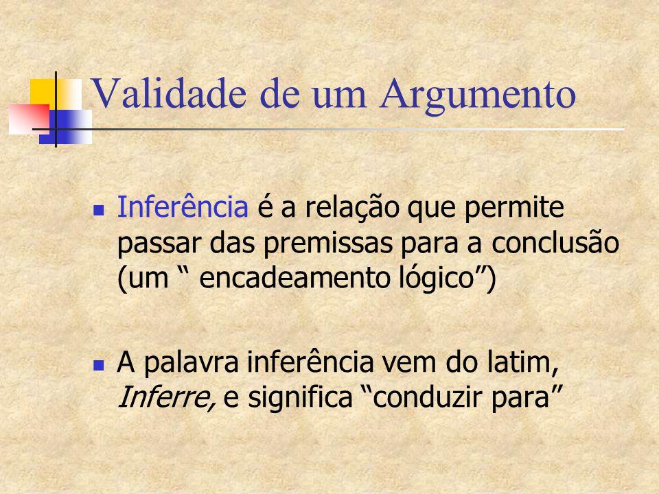 """Validade de um Argumento Inferência é a relação que permite passar das premissas para a conclusão (um """" encadeamento lógico"""") A palavra inferência vem"""