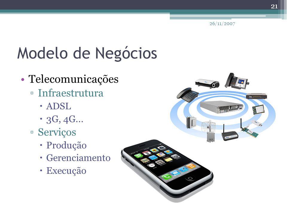 Modelo de Negócios Telecomunicações ▫Infraestrutura  ADSL  3G, 4G... ▫Serviços  Produção  Gerenciamento  Execução 21 26/11/2007