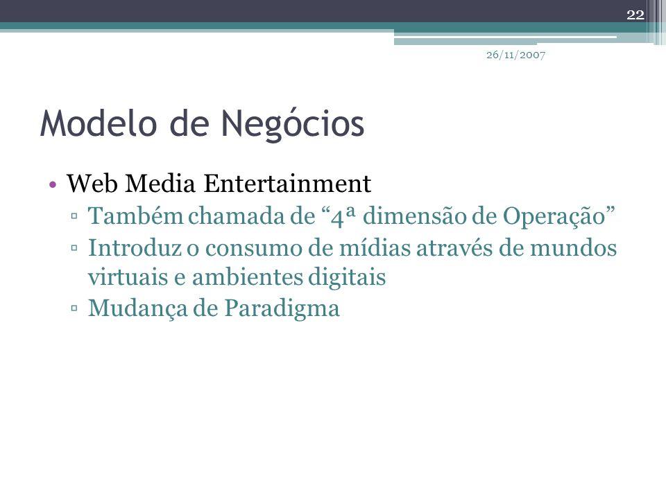 """Modelo de Negócios Web Media Entertainment ▫Também chamada de """"4ª dimensão de Operação"""" ▫Introduz o consumo de mídias através de mundos virtuais e amb"""