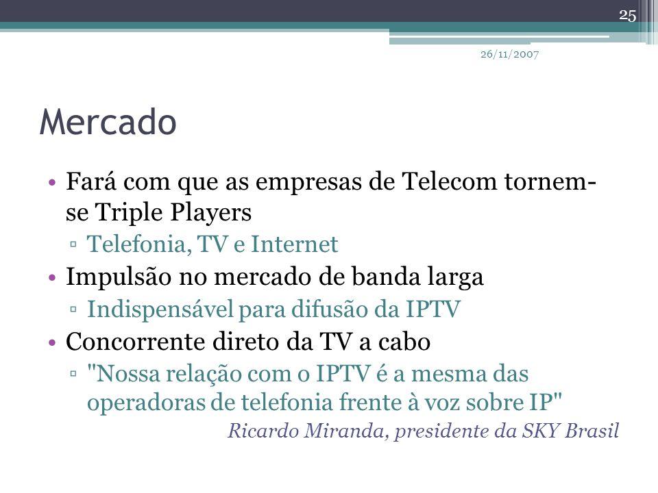 Mercado Fará com que as empresas de Telecom tornem- se Triple Players ▫Telefonia, TV e Internet Impulsão no mercado de banda larga ▫Indispensável para